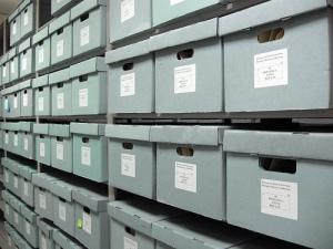 Cajas en el Departamento de Archivos y Gestión de Registros de la Kennesaw State University, Georgia. Fotografía de Anne G.