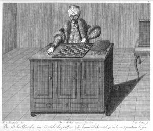 El Turco representado en un grabado del libro Briefe über den Schachspieler des Hrn. von Kempelen, nebst drei Kupferstichen die diese berühmte Maschine vorstellen, de Karl Gottlieb von Windisch, 1783.